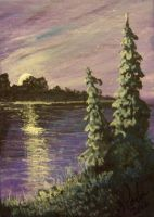 ACEO Moonrise Lake by annieoakley64