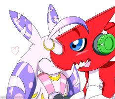 Request - Shoutmon and Lunamon by nightmare-soldier