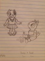 Tawny and Todd at 3 and 6 - finished sketch by Jestloo