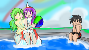 PokeRainbow Pool Party ~Commission~ by Xero-J