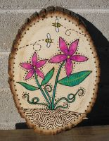 Pink flowers woodburning by StonerKitty