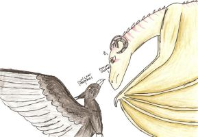 Wyvern and a griffen by CelticWolfie