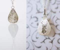 Dendritic Quartz with Deer Silhouette 2 by MirielDesign