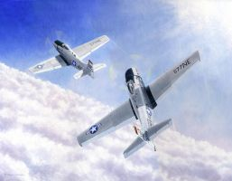 Skyraiders Above Clouds by DouglasCastleman