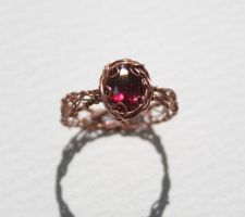 Copper Ruby Crochet Ring by WrappedbyDesign