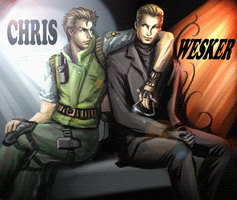 Chris and Wesker Wall paper by xiaofeihui