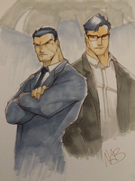 Bruce Wayne and Clark Kent by kevinbriones