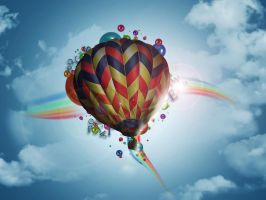 Fly colour balloon by injured-eye