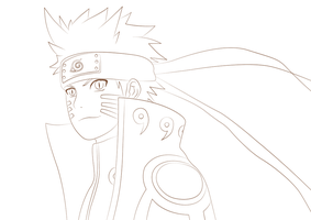 Naruto Kyuubi Mode - Lineart by TobeyD