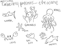 Embroidery Patterns- The Ocean by erus-aevus