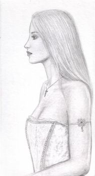 girl in profile with crucifix by dashinvaine