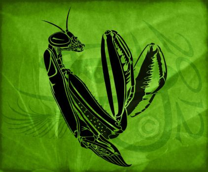 Preying Mantis Tribal Tattoo Design by Amoebafire