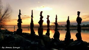 Stone balance composition in the sunset in Hungary by tom-tom1969