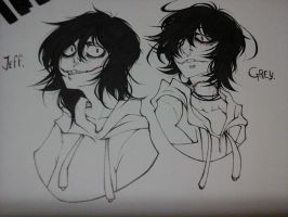Jeff The Killer and Genocide Grey. by 0Lau-Chan0