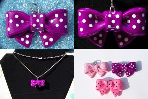 Deep Purple Bow Necklace by Shelby-JoJewelry