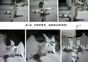 3D Paper Reshiram by HeavensDawn