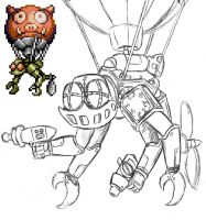 Rocket knight boss concept art The Drone Guard by ThePrinceofMars