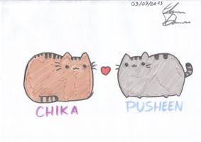 Chika and Pusheen by portuguese-d-ann