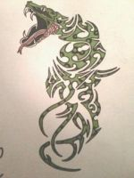 Tribal snake design by gbftattoos