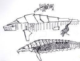 Sketch of clockwork spaceship by Jepray