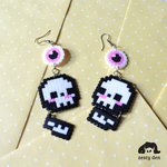 Pastel Hell Skull Eyeball Perler beads Earrings by zestyden