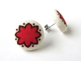 Red stud earrings button flowers white brown small by KooKooCraft