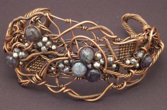 Textured Cuff with Labradorite and Sterling by WiredElements