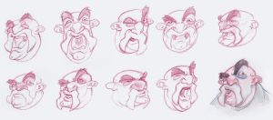 Lip Synch previs sketches by borogove13