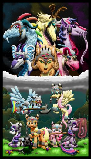 Equestrian Wereworld - Mane Six as Weredragons by Lactopi