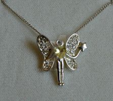 Vintage Sterling Silver Fairy Pendant on Chain by sevvysgirl