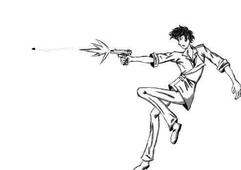 Spike Spiegel- Digitally inked by MontyP