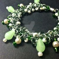 Mint and Pearl Shaggy Loops Chainmaille Bracelet by Rosie-Periannath