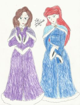 Winter Rapunzel and Ariel by FoxBluereaver