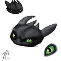 Coloured Toothless sketch!! by JannaLowe