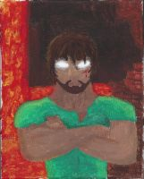 Herobrine Acrylic Painting by LilCatSilly