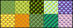 10 vector fish and serpent scale patterns by Owhl