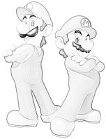 Mario and Luigi Sketch by Demetrax1
