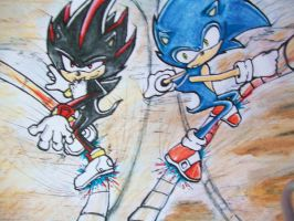 Sonic and Shad WIP2 by RiOTxLauren