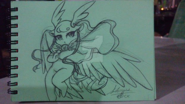 Doodle in class: Angelyna's 2nd Form  by chichicherry123