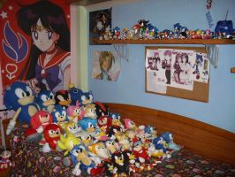 August 2014 Sonic Plushies and Sonic Shelf by 7marichan7
