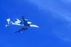 Space Shuttle Endeavour flies over Hollywood, Ca. by Pabloramosart