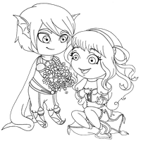 Chibi-lineart for Elionis 2 by deen4a