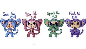 Four Wise Monkeys by shadowlover19