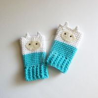 ADVENTURE TIME FINN Fingerless Gloves by annemisfit