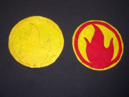 Pyro patches: front and back by MasqueradeLover