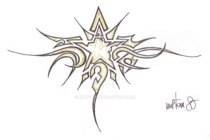 Golden Star Tribal Tattoo by mrtom85