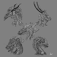 Dragon sketches by SilveronWolf