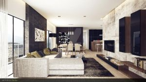 Modern Rustic Living Room 3 by vermillion3D