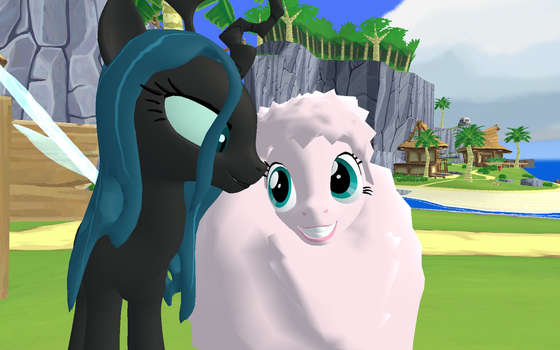 Fluffle puff and Queen Chrysalis by 123emilymason