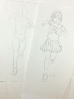 wip first character for school hallway background by ElainyasValley